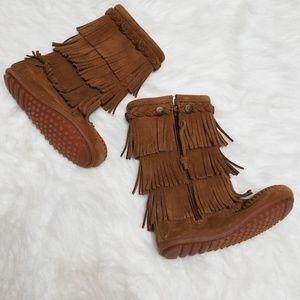 Minnetonka leather fringed boot moccasins